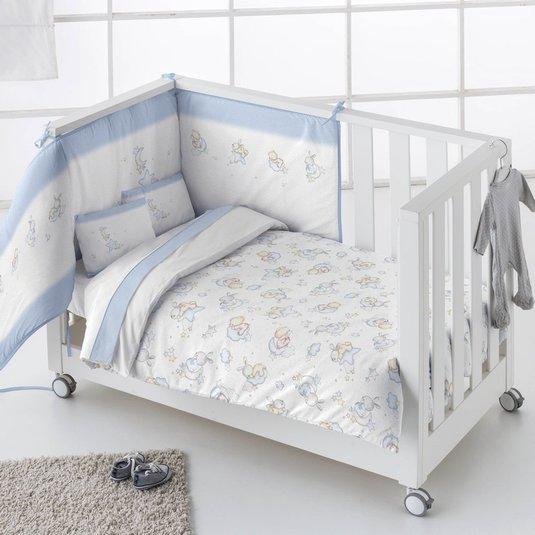 Funda nórdica Cuna + Protector NUBES Azul - Pielsa Baby